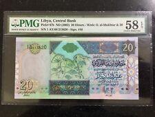 Libya 20 Dinar 2002 Banknote Graded Pmg 58 A-UNC EPQ Qaddafi African Union
