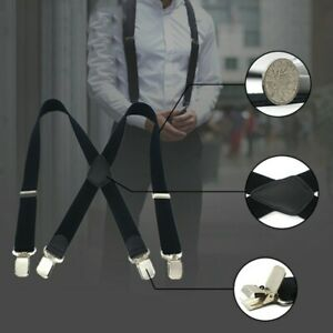 Men's X Shape Braces Adjustable and Elastic Suspenders Jeans Strong Clips 40mm