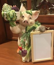FITZ AND FLOYD Percy the Pig Figurine with White Board Memo Board Vegetables
