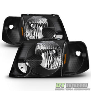 Blk 2002 2003 2004 2005 Ford Explorer Headlights+Corner Signal Lights Left+Right