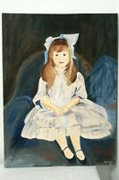 Vintage Hand Painted Acrylic? Young Girl Portrait Blue White Signed Canvas Panel
