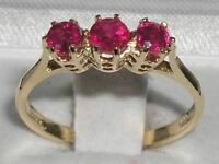 Solid 9ct Yellow Gold Natural Ruby Ladies Trilogy Band Ring