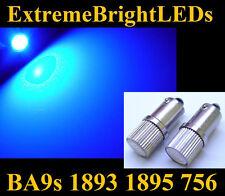 TWO Brilliant BLUE High Power LED bulbs BA9s 756 1815 1889 1891 1895 1893