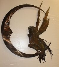 """Garden Fairy and the Moon Metal Wall Art  Extra Large 36"""" tall"""
