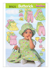 Butterick Sewing pattern B5624 SZ NB-M Babies Easy Dress Overalls Pants Bag Hat