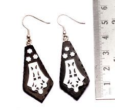 A Pair of Black & Silver Organic Danglers Ebony Wood Gorgeous Earrings SEW_1097