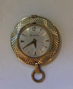 Vintage Bulova Mechanical Wind Up Watch Necklace Pendant Swiss Made RARE