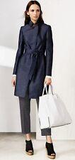New Karen Millen dark blue denim tailored biker trench coat with tie belt UK 16