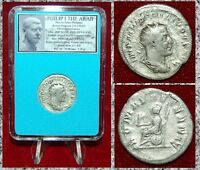 Ancient Roman Empire Coin PHILIP I Arab Roma On Reverse Silver Antoninianus