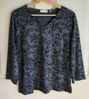 Habitat Womens Blue Gray 3/4 Sleeve Mesh Detail Blouse Top Shirt Size XS