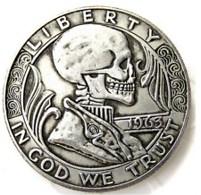 Hobo Nickel 1963 Half Dollar Skull Skeleton Lucifer Demon US Art Casted Coin
