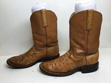 Vtg Mens Top Notch Western Roper Ostrich Skin Brown Boots Size 8 D