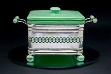 Art Deco Vintage Green Bakelite SQUARE Pyrex Serving Dish Lewbury Silver Cradle