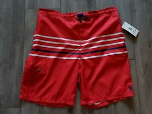 US POLO ASSN Red Striped Inner Brief Swim Trunks Shorts Drawstring Men's 2XL $42