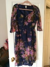 ladies 1950's orignal dress size 10 blue pink floral sleeves mid length evening