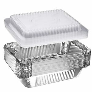 1 lb Oblong Aluminum Foil Take-Out Disposable Pan with Dome Lids 50-1000 PACK