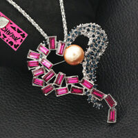 Betsey Johnson Womens Crystal Pearl Love Heart Pendant Chain Necklace/Brooch Pin