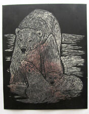 Found art Polar bear with cubs Scratchboard illustration