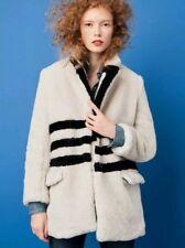 $248 J Crew Yuna Teddy Coat in Striped Plush Fleece Fur Jacket XS 0 2 NWT J456