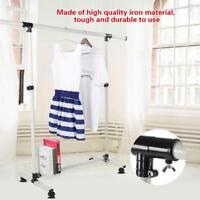 Adjustable Rolling Single Rail Garment Rack Heavy Duty Clothes Hanger Rack Home