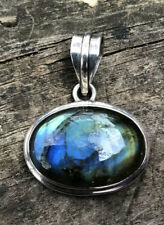 Blue Green Flash Labradorite Sterling Silver 925 Oval Pendant Necklace