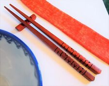 Chopsticks, African Paduak Wood, Custom Personalized Names Carved to Order - USA