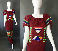 Amazing 80s Vintage Dark Red Traditional South America Embroidered Dress S