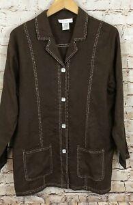 Susan Graver blazer jacket womens medium linen blend brown contrast stitch P1