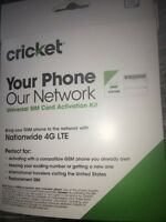 Cricket Wireless 3 in 1 SIM Card Kit BYOP 4G LTE Bring Your Own Phone FREE S&H