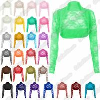 New Ladies Floral Lace Long Sleeve Open Front Bolero Shrug Crop Cardigan Top