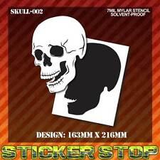 SKULL MYLAR STENCIL (Airbrush, Craft, Re-usable) SKULL-002