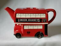 """MEMORIES OF LONDON"" RED WHITE BLACK LONDON POTTERY DOUBLE DECKER BUS TEAPOT EUC"