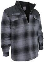 Men's Heavyweight Fleece Lined Plaid Sherpa Grey Black Hoodie Jacket w/ Defect L
