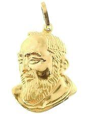 Ciondolo Pendente Uomo Donna Oro Giallo 18 Kt Carati 750 1,25 Gr Padre Pio