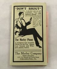 Antique Morley Phone For The Ear Hearing Aid Advertising Book Booklet Paper