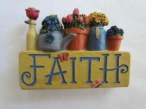 Faith Flower pots Block Figurine ~  Blossom Bucket 84300 ~  NEW uplifting gift