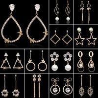 Fashion Tassels Geometric Round Crystal Women Studs Earrings Dangle Drop Jewelry