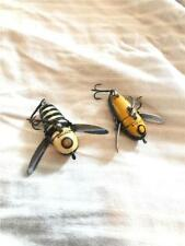 2pc  Antique Heddon Crazy Crawler Muskie Wood Top Water Floating Bug Lure Lot