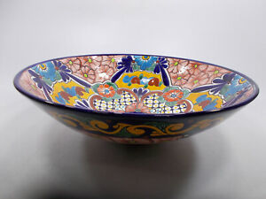 "17"" round TALAVERA VESSEL SINK Mexican handmade ceramic bathroom basin, folk art"