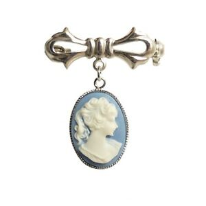 Beautiful Blue Cameo Brooch Pin Silver Victorian Gothic Steampunk wedding