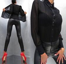 NEU 2018 Unique Transparent Schwarz VIP Damen Sexy Shirt Hemd M85 Blouse Bluse M