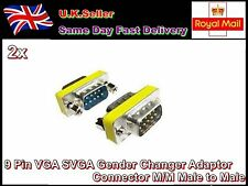 2pc 9Pin VGA SVGA Gender Changer Adaptor Connector M/M Male to Male Monitor TFT