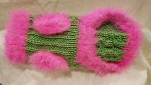 Dog Sweater Size Small knit 10 inch Pink And Green