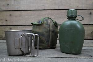 NL holl. KL Feldflasche mit Feldflaschenbecher Canteen Cup Edelstahl Armee DPM