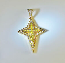 Fancy Canary Natural Yellow White Diamond 14K Crucifix Cross Gold Bethlehem Star