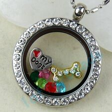 30MM Locket Glass Pendant Necklace Chain For Floating Charms Living Memory Gifts