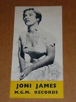 Joni James 1952/55 MGM 45/78/EP/LP Records Flyer