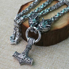 stainless steel Wolf head viking thor hammer pendant necklace king chain