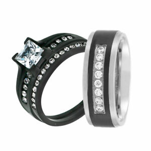His Hers 3 Pc Men's Women's Stainless Steel Wedding Engagement Ring Band Set gj