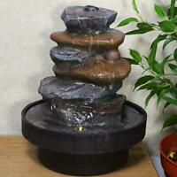 Indoor Stone Tower Water Fountain Cascade Feature Waterfall Ornament with Light